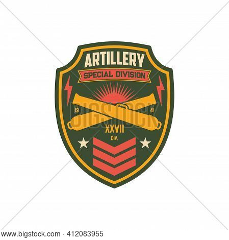 Artillery Army Unit To Defense In Battle, American Fighting Forces Seal Isolatd Miitary Chevron Patc