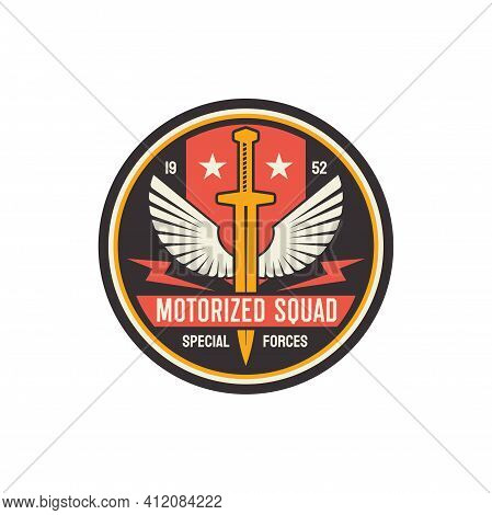 Motorized Infantry Squad Military Round Emblem With Sword And Swings, Special Forces Troops. Vector