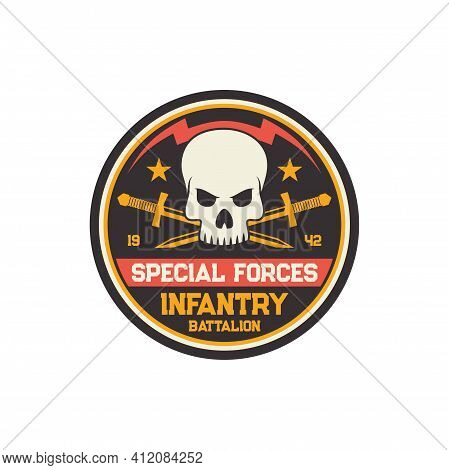 Infantry Troop Sub-subunit, Military Chevron, Squad With Crossed Swords And Skull Isolated. Vector U