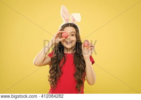 Easter Is Her Favorite Holiday. Ready To Easter. Little Girl Child Wear Bunny Ears. Happy Easter. Bu