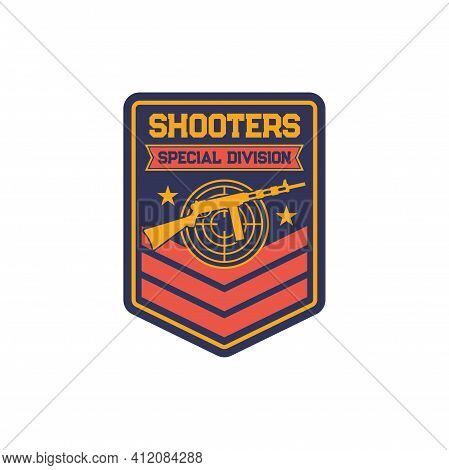 Shooters Snipers Squad Military Chevron, Patch On Uniform Of Special Division Isolated Template. Vec