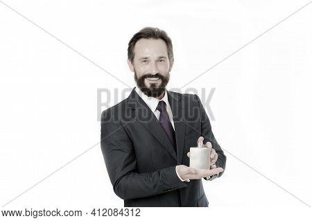 Perfumes Top Fragrance Brands. Businessman Classic Formal Clothing Holds Bottle Fragrance For Men. G