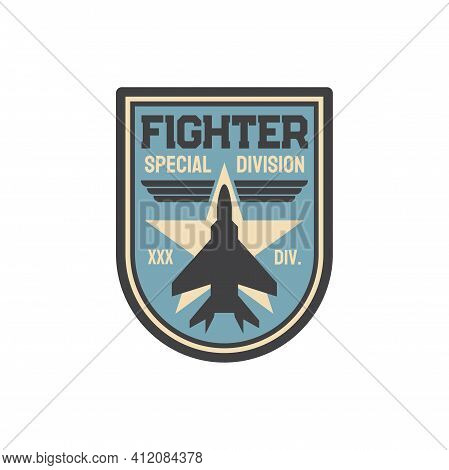 Aviation Squad Army Chevron Insignia Of Airplane Jet Fighter Isolated Patch On Military Uniform. Vec