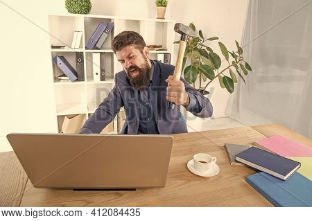 Facial Expression. Stress And Pressure At Workplace. Business Man Holding Hammer. Frustrated Office