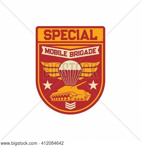 Tank And Airborne Forces Special Squad Isolated Military Chevron Of Armored Division. Vector Surviva