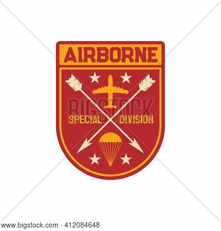 Military Chevron Airborne Special Division Squad Patch On Uniform. Vector Parachuting Skydiving Avia