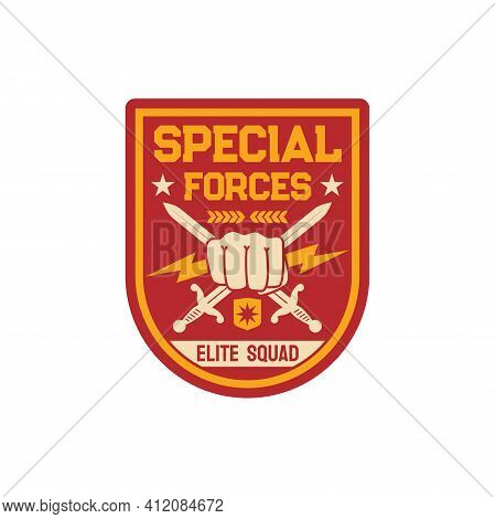 Squad Infantry Troops, Military Chevron With Crossed Sword And Fist, Thunders Isolated Army Insignia
