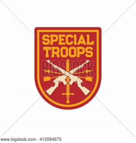 Infantry Special Troops Military Chevron, Squad With Sword And Crossed Rifles, Archery Arrows Isolat