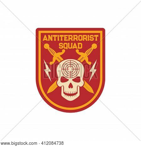 Military Anti Terrorist Squad Patch On Uniform With Crossed Swords, Skull With Target Aim, Thunder S