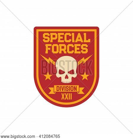 Military Squad Patch On Uniform With Dead Officer Skull Isolated. Vector Special Division Trooper Ba