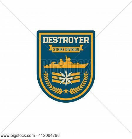 Destroyer Submarine Maritime Division Special Squad Isolated Army Chevron. Vector Navy Marine Forces