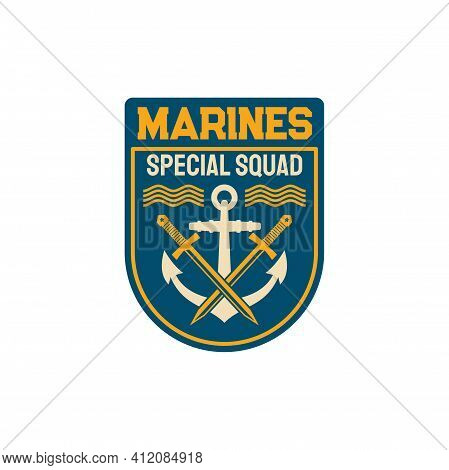 Marines Special Squad With Naval Symbol Anchor And Crossed Sword Isolated Maritime Military Chevron