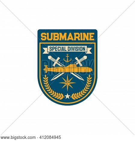 Submarine Special Division Squad With Crossed Swords And Sub Boat, Anchor And Windrose Compass Sign,