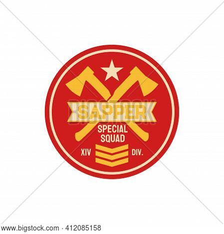 Military Chevron Of Sapper Pioneer Combat Engineer Special Division Isolated Patch With Crossed Axes