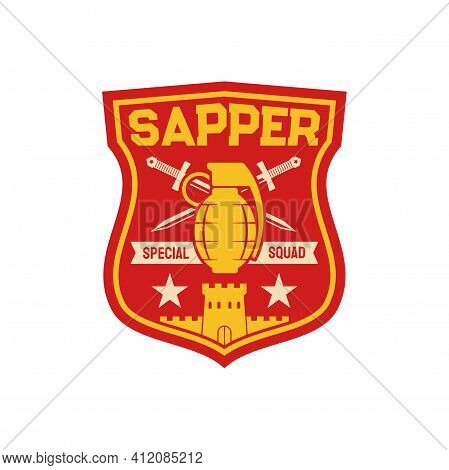 Sapper Special Squad, Pioneer Combat Engineer Division Military Chevron With Bomb And Crossed Swords