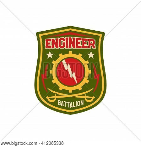 Engineering Squadron Repair Battalion Chevron With Gear Mechanisms And Thunders, Crossed Swords Isol