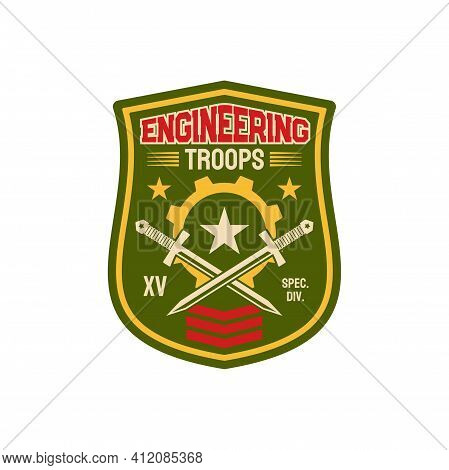 Repair Battalion Engineering Squadron Of Engineering Troops Isolated Patch On Military Uniform. Vect