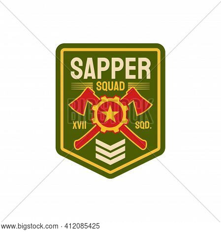 Combat Engineers Special Division Isolated Chevron With Crossed Axes, Rank And Star. Vector Pioneer