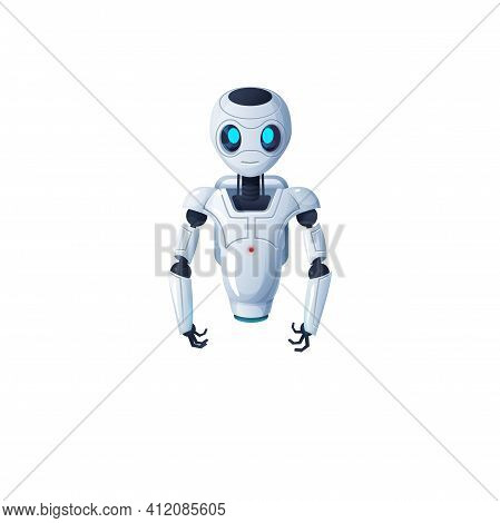 Robot With Hands And Without Legs Isolated Cartoon Character With Flexible Arms. Vector Artificial I