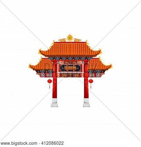 Chinese Gate Architecture, Entrance With Roof In Oriental Style, Decorated By Hanging Lanterns. Vect