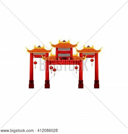 Entrance With Roof Isolated Chinese, Korean Or Japanese Gate Building Decorated By Hanging Lanterns.