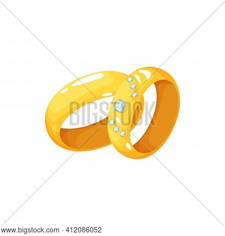 Pair Of Wedding Rings, Symbol Of Husband And Wife Love, With Diamonds Brilliant Decoration. Vector E