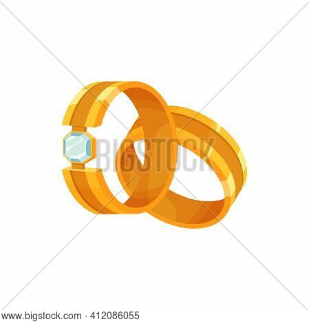 Golden Wedding Rings With Decor Of Diamond Carat Isolated. Vector Gold Jewelry With Diamond, Engagem