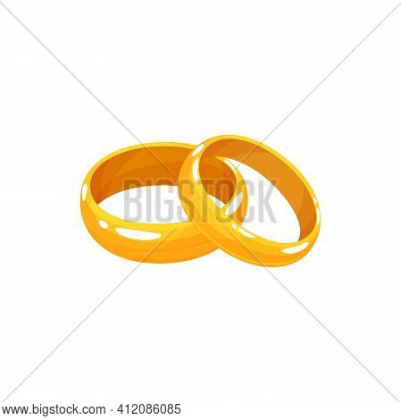 Pair Of Crossed Wedding Rings In Cartoon Design Isolated. Vector Romantic Jewelry Of Bride And Groom