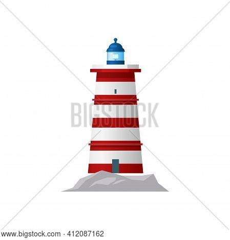 Lighthouse Marine Tower With Searchlight To Navigate Ships Isolated Icon. Vector Beacon Nautical Bui
