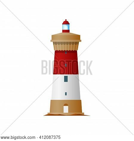 Lighthouse Or Light House And Sea Bacon, Beach Vintage Old Nautical Shore And Storm Building, Vector