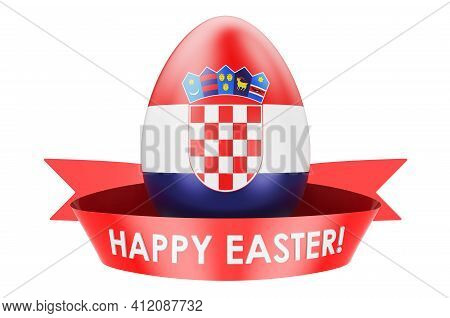 Easter Egg With Croatian Flag. Happy Easter In Croatia Concept, 3d Rendering Isolated On White Backg