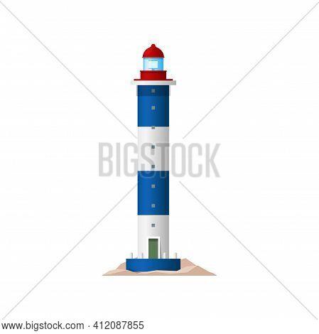 Lighthouse Sea Tower, Nautical Light House, Vector Coast Beacon Building. Ocean Direction And Naviga