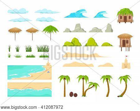 Beach Landscape Constructor. Beach Landscape Elements. Nature Beach, Clouds, Hills, Mountains Trees