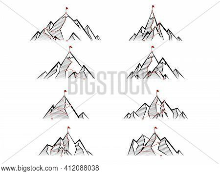 Sketch Route To Mountain Peak. Business Journey Path In Progress To Success Vector Concept