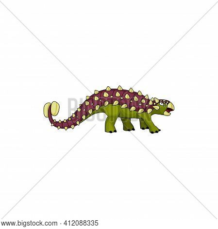 Prehistoric Dinosaur Ankylosaurus With Tail Club Isolated Icon. Vector Prehistoric Dino, Animal Of J