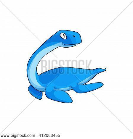 Swimming Dinosaur Prehistoric Animal Of Jurassic Period. Vector Chalishevia Or Erythrosuchus Lizard