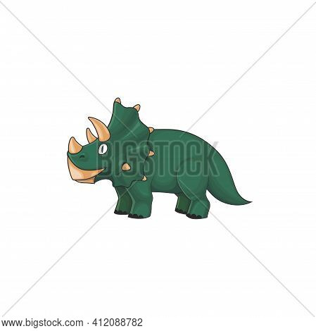 Kind Triceratops, Horned Dino Of Jurassic Period Isolated Green Prehistoric Animal. Vector Tricerato