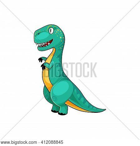T-rex Green Dinosaur Parasaurolophus Isolated Cartoon Extinct Animal. Vector Tyrannosauridae Or Tyra