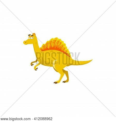 Spinosaurus Dino With Tall Neural Spines Growing On Back Isolated Cartoon Comic Animal. Vector Verte