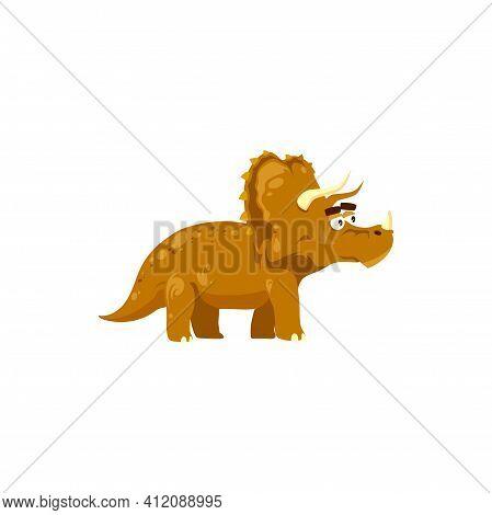Dinosaur Cartoon Prehistoric Horned Animal Isolated Dino With Three Horns. Vector Cartoon Kind Trice