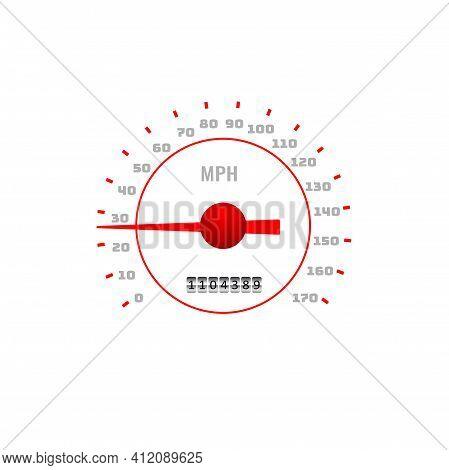 Speedometer, Car Dashboard Speed Gauge Dial, Vector Mph Counter Or Gear Panel. Speedometer Gauge Spe