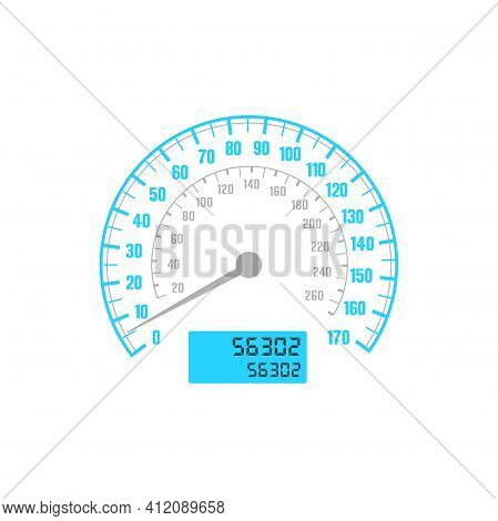 Speedometer Car Gauge With Speed Scale, Odometer Dashboard, Vector Mph And Km Dial Counter. Vehicle