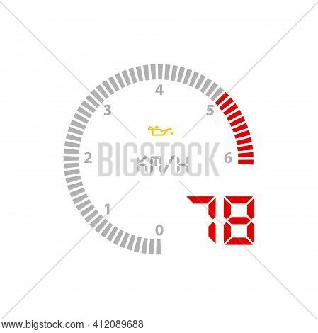 Speedometer Gauge, Car Speed Scale Dial Dashboard Vector Odometer. Car Speed Gage Board Counter With