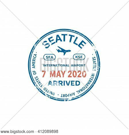 Passport Stamp Travel Visa Or Customs Of Usa International Airport And Border Control, Vector Isolat