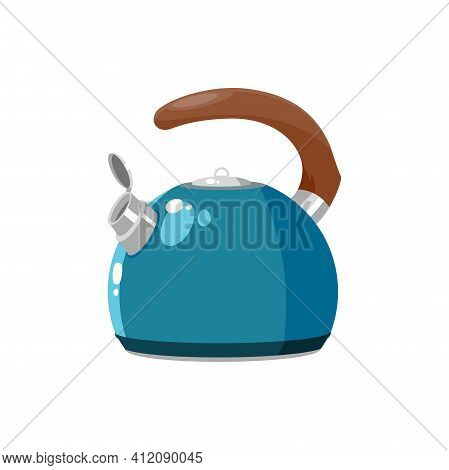 Tea Pot With Wooden Brown Handle Isolated Kettle With Hot Drink. Vector Kitchen Utensils, Household