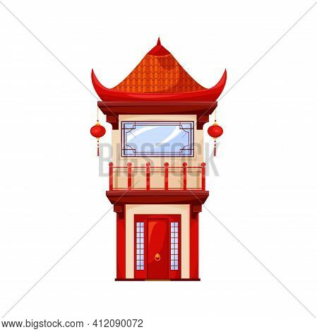 China Or Japan Temple Architecture Isolated Red Oriental Building Icon. Vector Traditional Chinatown
