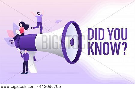Cartoon Web Banner With Did You Know People For Marketing Design. Vector Character Illustration. Web