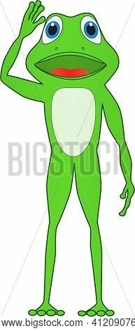 Cartoon Of A Frog Waving Greet Everyone On A Sunny Day