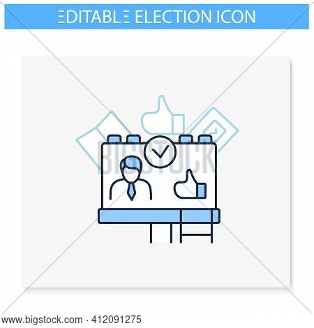 Candidate Banner Line Icon. Election Campaign, Agitation, Propaganda. Choice, Vote Concept. Democrac