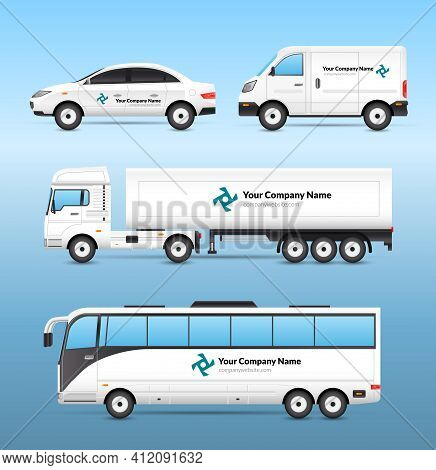 Transport Advertisement Set With Car Van Truck And Tourist Bus With Advertising Signs Isolated Vecto